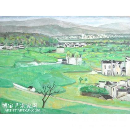 油画;杂项;名家 胡万明 - 胡万明 皖南·屏山 类别: 风景油画